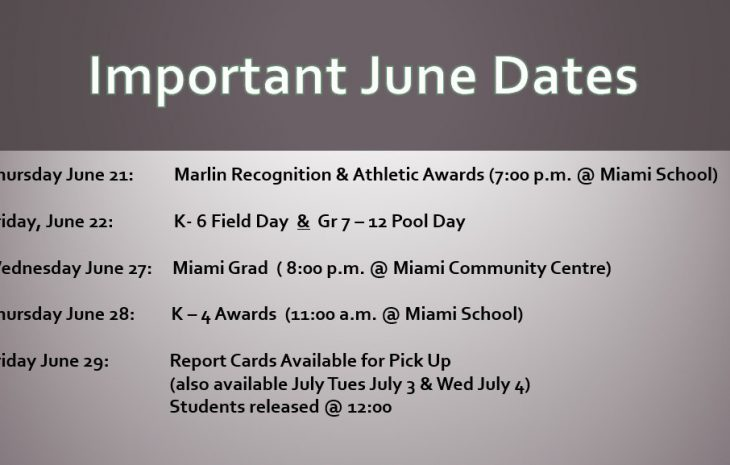 Important June Dates ***Click to View***