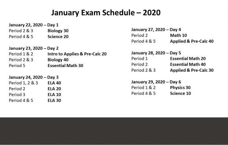 January Exam Schedule