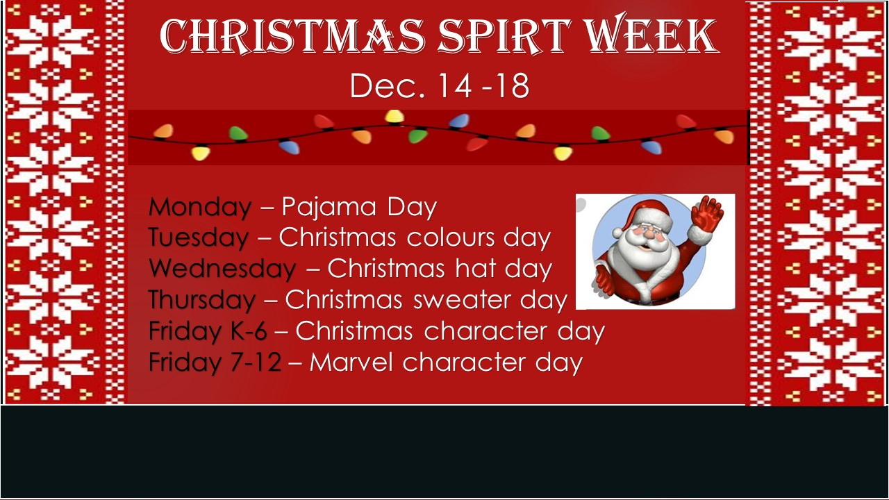 Christmas Spirit Week Dec 14-18